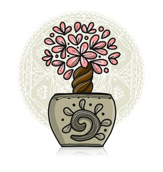 floral tree in pot vector image