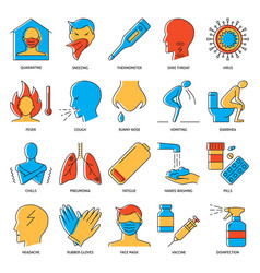 flu and covid19 icon set in colored line style vector image