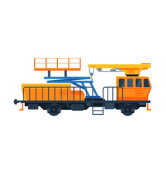 freight train wagon railway crane for lifting and vector image