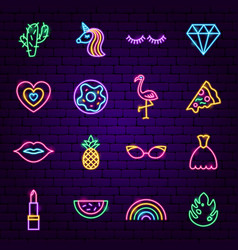 Girl power neon icons vector