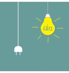 Hanging yellow light bulb and cord plug Idea vector image