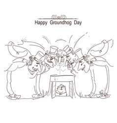 happy groundhog day card with group of men in vector image