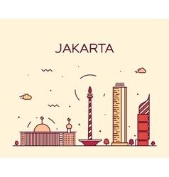 Jakarta skyline trendy linear vector