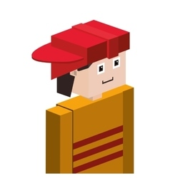 Lego half body firefighter with helmet vector
