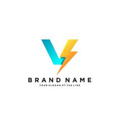 Letter v flash electrical logo design vector