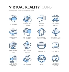 Line Virtual Reality Icons vector