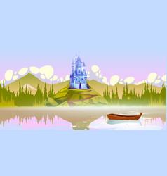 Magic castle on mountain top near river at summer vector
