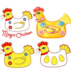 Magic chicken set vector
