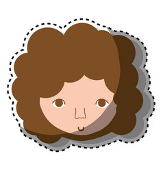 Man face with curly hair icon vector