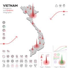 Map vietnam epidemic and quarantine emergency vector