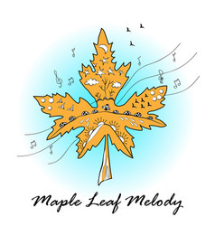 maple leaf ornamented in autumn mood maple leaf vector image