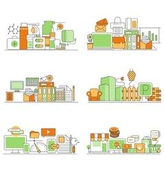 modern set of creative flat backgrounds vector image