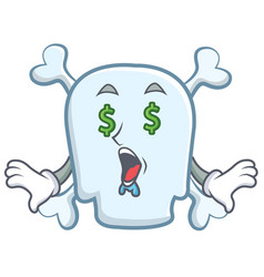 money eye skull character cartoon style vector image