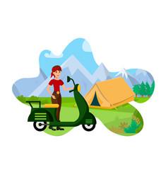 mountain tourism flat color vector image
