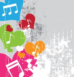 music in heart with grunge background vector image