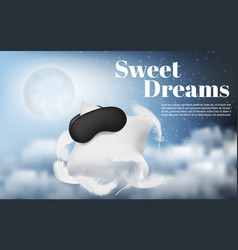 Night background with white pillow vector