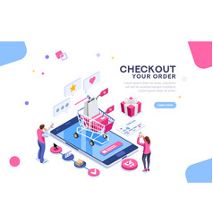 order online concept isometric banner vector image
