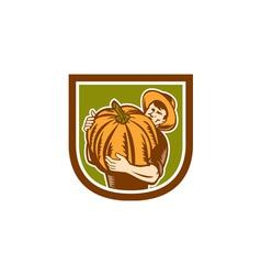 Organic Farmer Holding Pumpkin Shield Retro vector