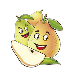 Pear cute characters set in cartoon style vector