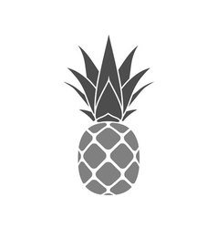 Pineapple with leaf gray vector