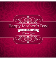 Red Mothers day greeting card with roses vector image