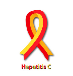 Red yellow ribbon world hepatitis day vector