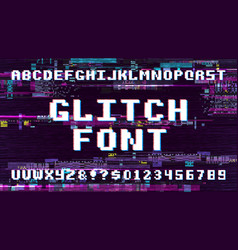 retro pixel art font on display with tv noise vector image