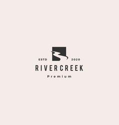 river creek logo hipster retro vintage icon vector image