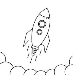 rocket fly icon design space ship in black vector image