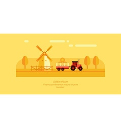 Rural Farm Landscape Mill and Tractor with Trailer vector