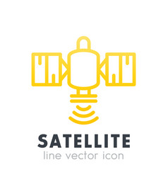 satellite icon in line style over white vector image