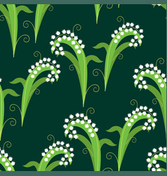seamless background of decorative lilies of valey vector image