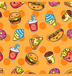seamless pattern with cute kawaii fast food meal vector image