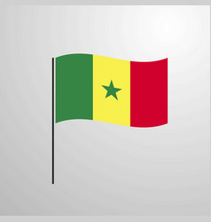 Senegal waving flag vector
