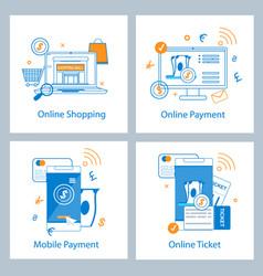 set flat banner online payment online shopping vector image