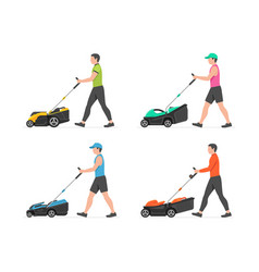 set man with lawnmower vector image