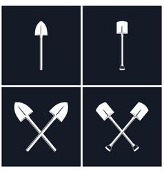 Set of digging and pick up shovels vector