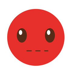 Silent emoticon face kawaii style vector