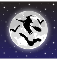 silhouettes witches and bats vector image