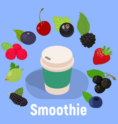 Smoothie concept banner isometric style vector