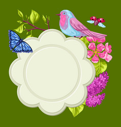 spring garden frame natural with vector image