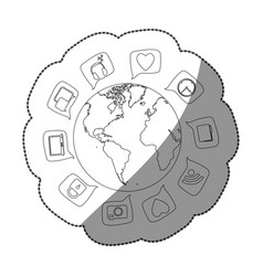 Sticker silhouette world map globe with dialogue vector