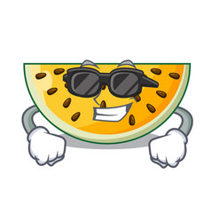 super cool sliced yellow watermelon on character vector image