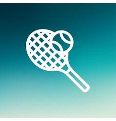 Tennis Racket and Ball thin line icon vector image