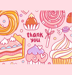 thank you pastry background card vector image