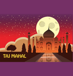 The taj mahal white marble mausoleum on the south vector