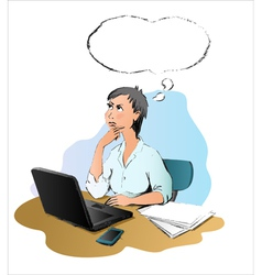 Thinking woman on the office vector image