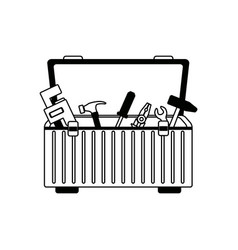 Tools box with carpentry equipment instruments vector