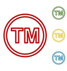 Trade mark sign Set of line icons vector