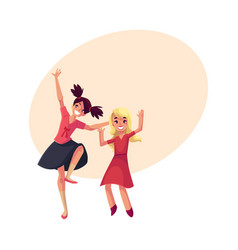 Two girls dancing at party blue dress teenager vector